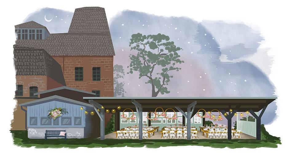 Festterrasse Salvey Mühle Hochzeitslocation in der Uckermark Brandenburg